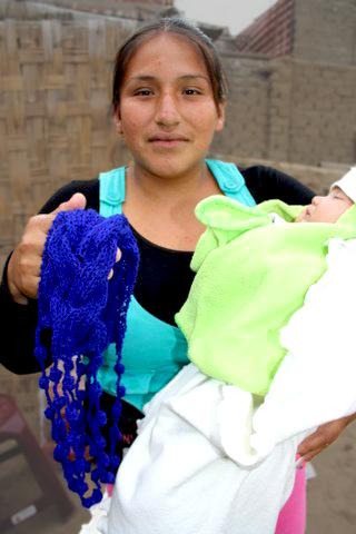 Peruvian Woman Knitting