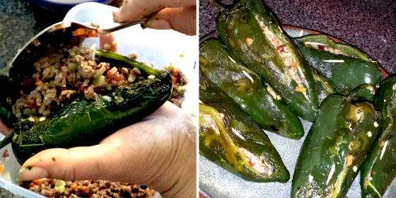 chiles rellenos, poblano peppers, stuffed peppers