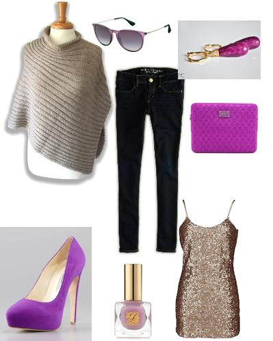 radiant orchid, heels, sequin tanktop, poncho, alpaca, american eagle jeans, marc jacobs clutch