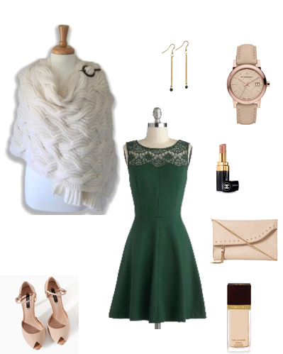 green dress, alpaca shawl, nude michael kors  watch, nude accessories